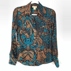 Lucky Brand | 100% Silk Button Down Shirt Size XS